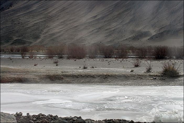 Indus mit Eis und Büschen im Changthang